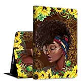Rossy Case Compatible with All-New Amazon Kindle Fire HD 10 Tablet 10.1' (2019/2017/2015 Release),PU Leather TPU Shockproof with Adjustable Stand & Auto Wake/Sleep, Afric American Girl Sunflower
