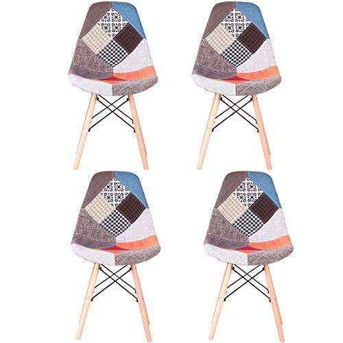 GrandCA HOME Pack de 4 sillas Sillas de Retazos Multicolores en Tela de Lino Sillas de Sala de Estar de Ocio Sillas de Comedor con Respaldo de cojín Suave (Rojo) ⭐