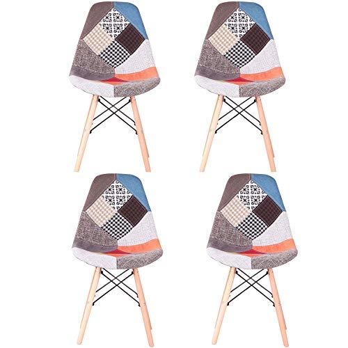 GrandCA HOME Pack de 4 sillas Sillas de Retazos Multicolores en Tela de Lino Sillas de Sala de Estar de Ocio Sillas de...
