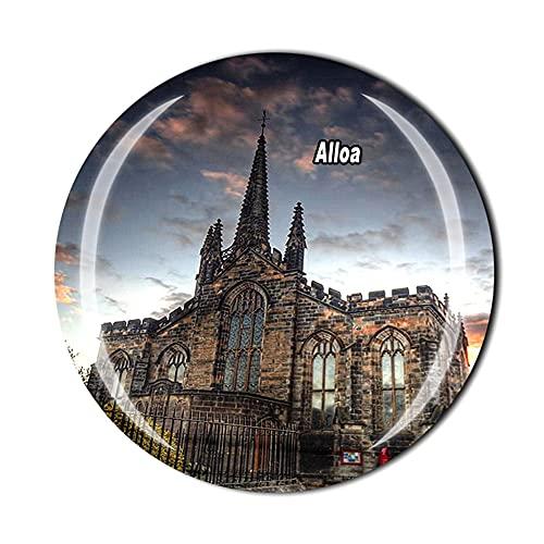 Alloa Scotland UK - Imán para refrigerador, regalo de recuerdo de viaje con cristal 3D para decoración del hogar y la cocina