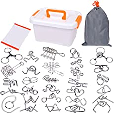 Joyeee 30 Pieces Metal Wire Puzzles Magic Metal Brain Teaser Puzzle Set, Assembly & Disentanglement Puzzles Toys - Classic Educational Intelligence Toy for Adults Kids and Expanding Mind