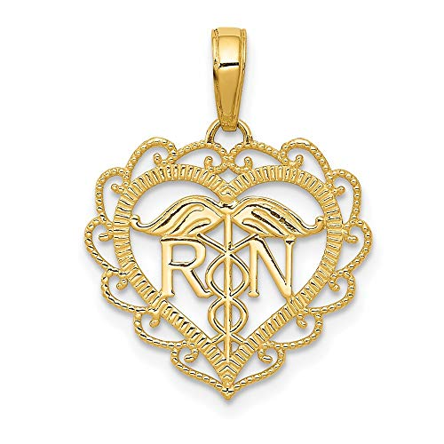 14k Yellow Gold Rn Caduceus Angel Nursing Registered Nurse Heart Pendant Charm Necklace Career Professional Medical Fine Jewelry For Women Gifts For Her