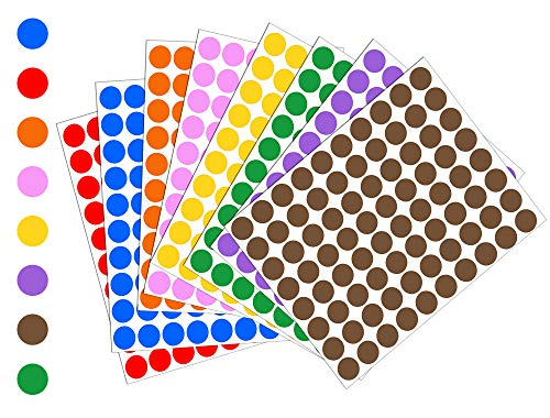 Kids Crafts Stickers - Colorful 1/2 inch Dots Labels for Children Fun, Games and Art Half (0.5) inch - 2560 Pack - 8 Colors - 32 Sheets