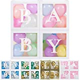 Baby Shower Boxes Party Decorations - 44 pcs, 32 Pastel Balloons, 4 Clear & Transparent Blocks, 8 Letters, First Birthday Centerpiece Decor & Supplies for Boys and Girls, Gender Reveal Backdrop
