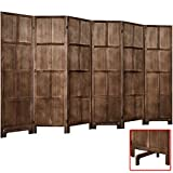RHF 6 Ft.Tall Room Divider with Stand,19' Each Panel,Rustic Folding Privacy Screens,Heavy Duty Partition Wall Dividers, Room Separator, Temporary Wall, Screen Panel with Feet, 6 Panel, Brown