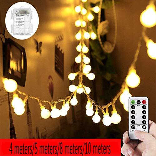 Weihnachten Deko Lichterkette,Warmweiß 4M/40LED,5M/50LED,8M/80LED,10M/100LED 8 Lichtmodi LED Licht Hochzeit Party Halloween Xmas Innen/Außen Haus Deko String Lights Mit Fernbedienung (Warmweiß, 4M)