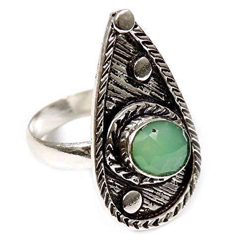 GoyalCrafts Ring mit natürlichem Chrysopras-Edelstein, UK-S, versilberter Schmuck GRM12