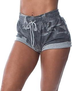 Aurgelmir Women's Ruched Butt Lounge Booty Shorts Camouflage Print Drawstring Workout Yoga Hot Pants
