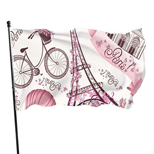 ShiHaiYunBai Décoration d'extérieur Drapeaux, Eiffel Tower Notre Dame De Paris Romantic Travel in France Flag Flag Decor 3x5 Feet Vibrant Colors Quality Polyester and Brass Grommets