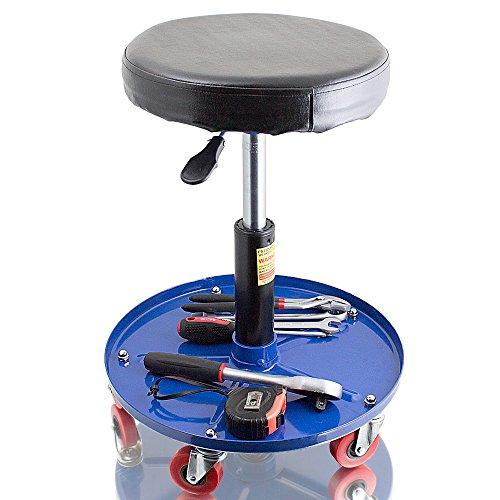 BITUXX® Werkstatthocker Drehhocker Rollhocker Hocker Drehstuhl Sitz Werkstatt Werstattstuhl Stufenlos höhenverstellbar Rund Farbe:Blau