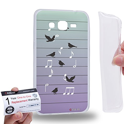 Hülle88 [Samsung Galaxy Grand Prime] Gel TPU Hülle / Schutzhülle und Garantiekarte - Art Fashion Birds Of Music On Wire Art1393