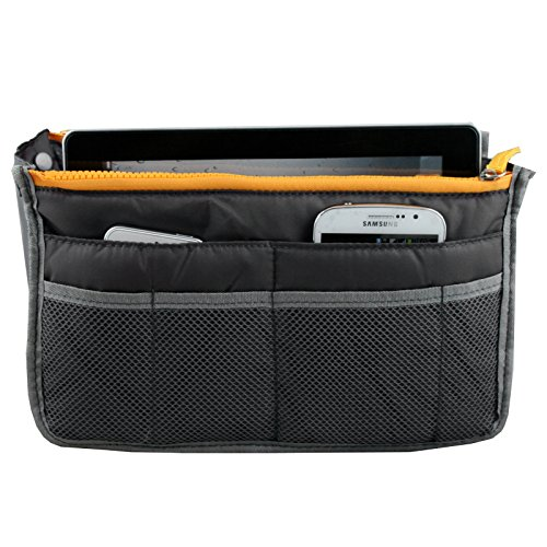 Japace® Donna Sacchetto Cosmetic Bag Borsa da Viaggio Organizzatore di Viaggio con Maniglia Cerniere Doppie Grande Capacità Portable per Attività Esterna in Viaggio d'affari 28 * 17 * 10cm---Grigio