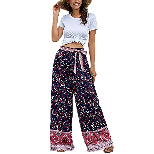 Pantalones Anchos con Estampado De Pierna Ancha Y Holgados Informales A La Moda para Mujer Pantalones con CinturóN