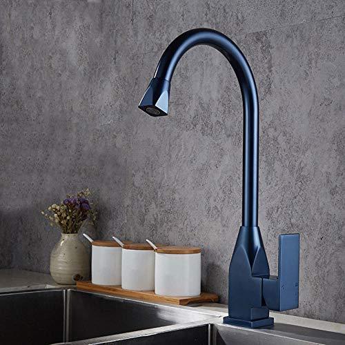 WANDOM Nero/Cromo/Blu/Grigio Spazio Alluminio Miscelatore da cucina Vegetale Lavabo Lavandino Rubinetti acqua Freddo Caldo Oro Miscelatore Lusso-Blu