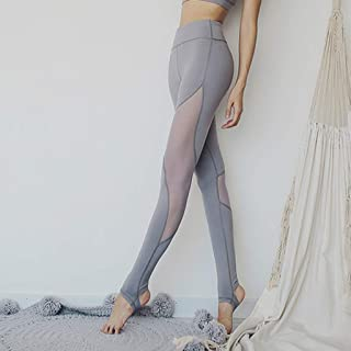 HXLG Womens Yoga Pants Stirrup Leggings Sport Gym Running Workout Tights Mesh Splice Trousers Sports Pants (Color : Gray, Size : XL)