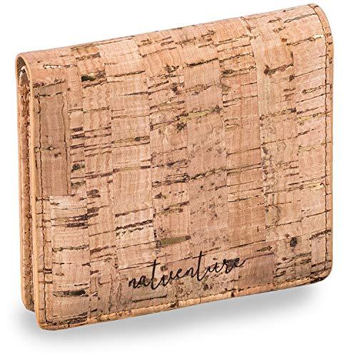 Kork Geldbörse Damen Klein Kunstleder - Vegan Wallet Öko & Fair Trade aus Portugal - Frauen Portemonnaie mit RFID Schutz - Geldbeutel & Portmonee Damen naturgold