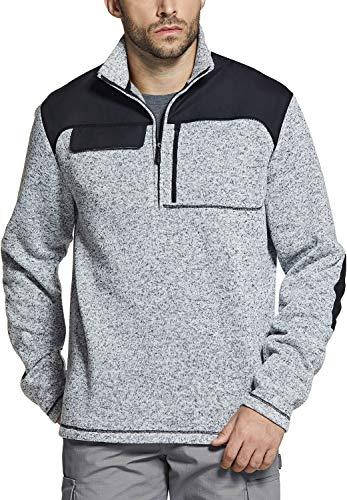 CQR Men's Thermal Fleece Half Zip Pullover, Winter Outdoor Warm Sweater, Lightweight Long Sleeve Sweatshirt, Unique(hkz401) - Heather Grey, X-Large