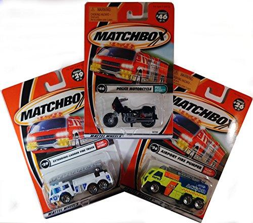 Matchbox Original First Responder Rescue Set - Airport Emergency! - Set of 3 Die-Cast Scale Model Cars