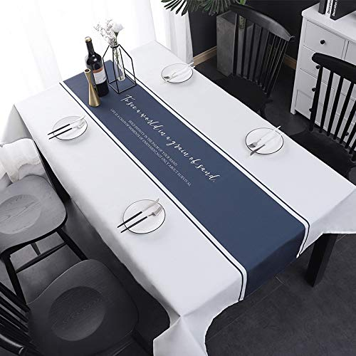 HTUO Tablecloth Waterproof Oil Proof Home Kitchens Decoration Table Cloth Christmas Decoration Dust Proof Table Cover Cotton Linen Wrinkle Free Living Room Outdoor Restaurant 120 * 190cm