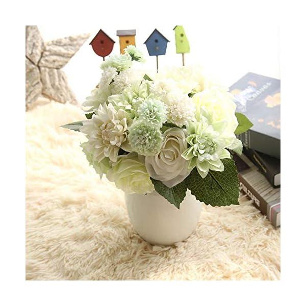 Zonfer 1pc De Flores De Seda De La Boda del Ramo De Rosas Dalias De Flores Artificiales del Otoño Flores Boda De La Hoja…