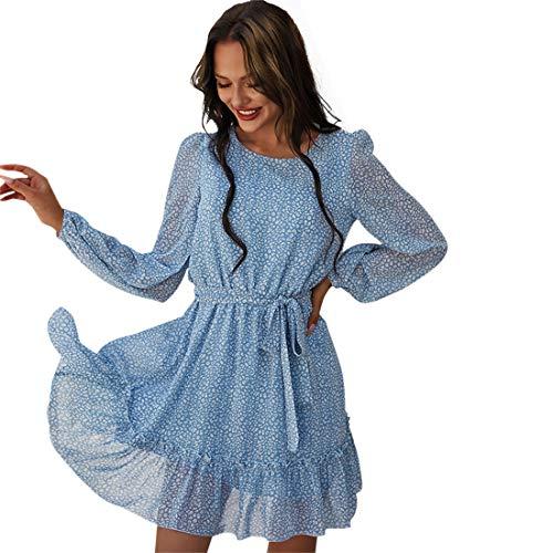 wenyujh Strandkleider Damen Rundhals Sommerkleid Langarm Midikleider Partykleid Abendkleid Cocktailkleid mit Gürtel für Frauen(Blau,L)