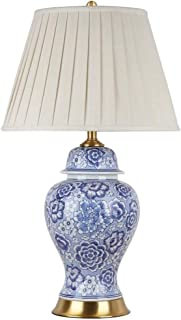 Home Equipment Blue And White Ceramic Table Lamp Living Room Bedside Lamp Retro Full Copper Decoration Bedroom 40x70cm