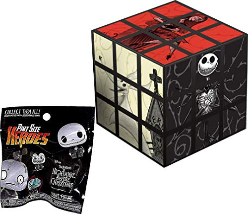 Block Jack Skellington Halloween Town Nightmare Before Christmas Figure Pint Character Bundled with Disney Compatible with Rubik's Theme Cube Puzzle + Heroes Vinyl Blind Bag 2 Items