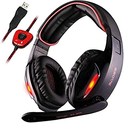 GW Sades SA902 7.1 Channel Virtual USB Surround Stereo Wired Over Ear PC Gaming Headset Headphones with Mic Revolution Volume Control Noise Canceling LED Light (Black/Red) by Shenzhen Sades Digital Technology Coltd