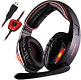 Sades USB 7.1 Stereo Surround Sound Gaming Headset with Mic, LED Light&Noise Cancelling Over Ear Gamer Headphones for PC Mac Laptop Computer Games
