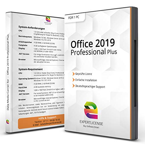 Office 2019 Professional Plus – Vollversion │ Office 2019 Pro Plus 32/64bit + ISO DVD Box + inkl. Aktivierungsunterlagen per E-Mail │ deutsch │ Kundensupport