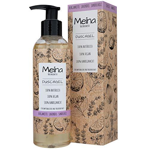 Meina Naturkosmetik - Duschgel mit Bergamotte, Lavendel und Sandelholz (1 x 220 ml) Vegan Bio Shower Gel - Natürliche Körperpflege