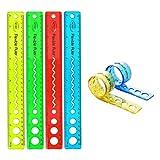 8 PCS de Regla Flexible Transparente de 4 Colores con Herramientas de Regla de Medición Métrica y en Pulgadas, Adecuadas para Estudiantes/Ingenieros/Artistas/Oficinas/Hogares (12 pulgadas/30 cm)
