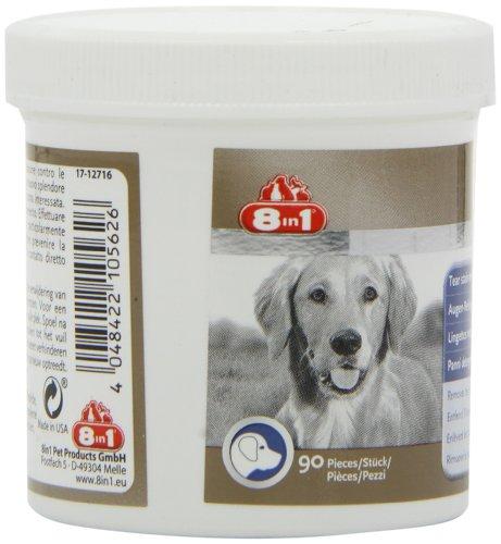 8in1 Augen-Reinigungspads (für eine wirkungsvolle und schonende Reinigung, speziell für die Augenhygiene bei Hunden entwickelt), 1 wiederverschließbare Dose (90 Stück) - 6