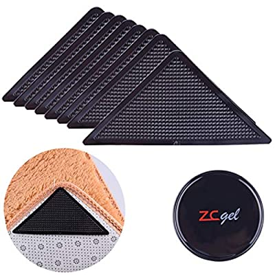 Rug Grippers for Hardwood Floors, ZC GEL Anti Slip Rug Grippers with Non Curling Washable and Reusable Non-Trace Removable Eco-Friendly Carpet Gripper for Tile Floors, Carpets, Floor Mats, Black 8 pcs