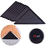 ZC GEL Rug Grippers for Hardwood Floors (8 pcs), Anti Slip Rug Grippers with Non Curling Washable and Reusable Non-Trace Removable Eco-Friendly Carpet Gripper for Tile Floors,Carpets,Floor Mats,Black