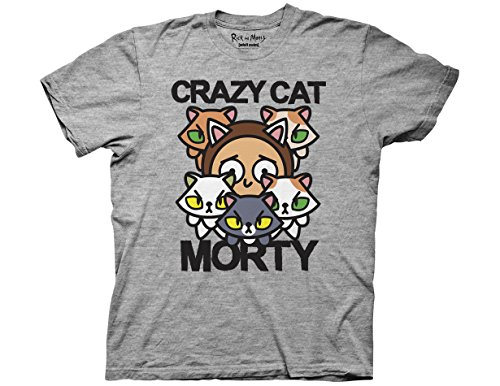 Ripple Junction Rick and Morty Pocket Mortys Crazy Cat Morty Adult T-Shirt Medium Heather