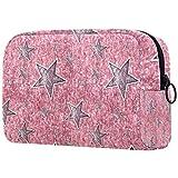 Bolsa de aseo rosa con estrellas plateadas en rosa brillante – Organizador grande de maquillaje de viaje para hombres y mujeres
