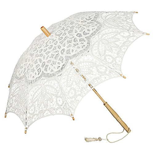 VON LILIENFELD Hochzeitsschirm Brautschirm Vivienne Battenburg Spitze Deko Sonnenschirm Accessoire Elfenbein Ivory