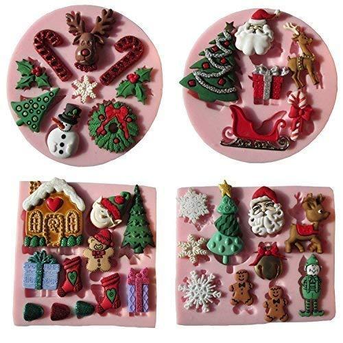 Musykrafties Santas Essentiële Kerst Snoep Siliconen Mould voor Cupcake, Taartdecoratie, Suikerpasta, Fondant, Boter, Hars, Polymeer Klei Crafting Projects, 4-delige Set