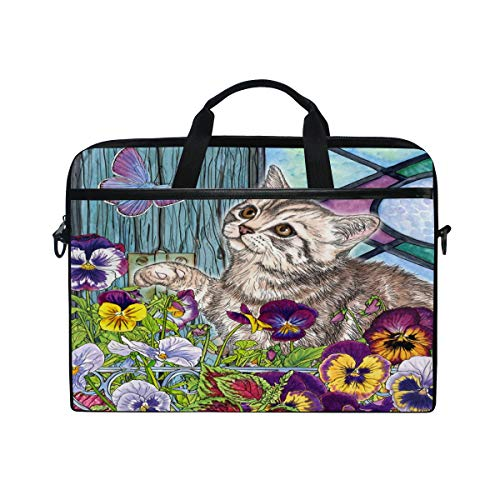 iRoad Canvas Laptop Bag Animal Kitty Butterfly Laptop Bag Case with Shoulder Strap Computer Bag for Women Men Business 14-15 Inch