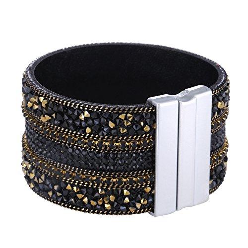 Morella Damen Glitzerarmband breit verziert mit Zirkoniasteinen und Magnetverschluss schwarz Gold