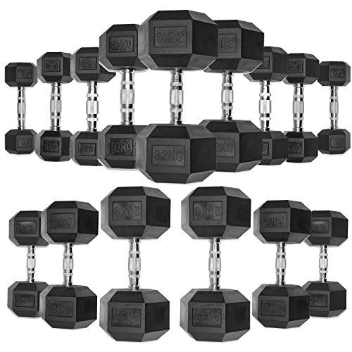 JLL Dumbbells Rubber Encased Ergo Weights Sets Hexagonal Dumbbell Gym Fitness (2 x 16kg (Pair))