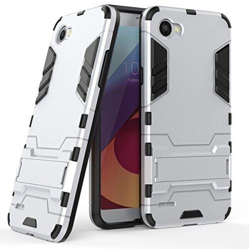 Funda para LG Q6 / Q6 Plus (5,5 Pulgadas) 2 en 1 Híbrida Rugged Armor Case Choque Absorción Protección Dual Layer Bumper Carcasa con Pata de Cabra (Plateado)