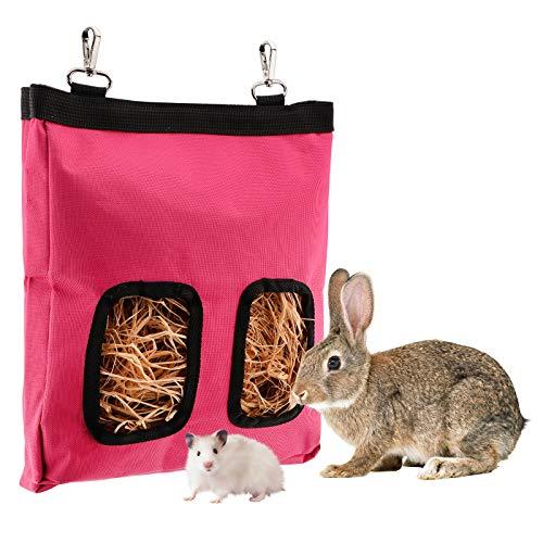 LUTER 28x23x2cm Bolsa de alimentación de heno de Conejillo de Indias Bolsa de heno de Conejo Saco alimentador Colgante, Mascotas pequeñas Que comen heno (Rosa)
