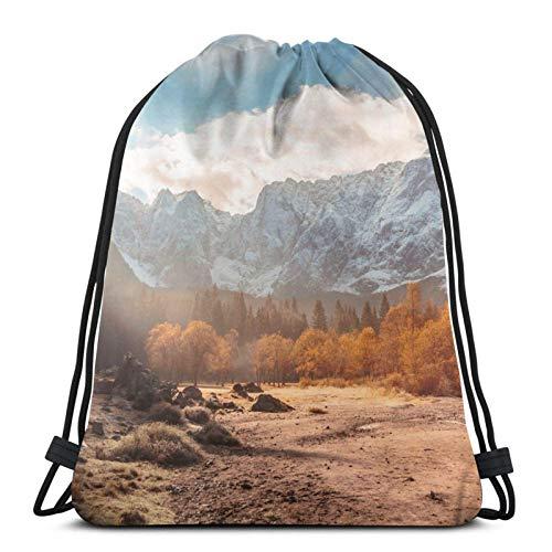 Hdadwy Autumn Sunrinse In The Valley Sport Bag Gym Sack Mochila con cordón para Compras en el Gimnasio