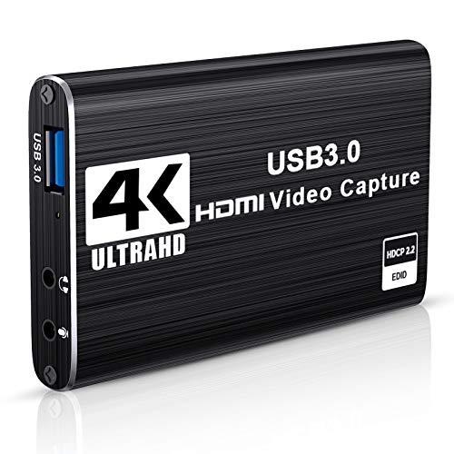 DIWUER Capturadora de Video Audio HDMI, 4K HDMI a USB3.0 Convertidor 1080P 60FPS, Edite Video Audio/Juego/Transmisión Capture para PS4 PS5, Nintendo Switch, Wii, Xbox One