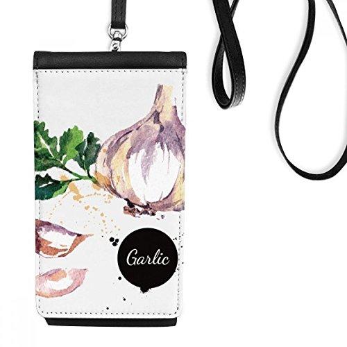DIYthinker Knoblauch-Gemüse Leckere gesunde Aquarell Kunstleder Smartphone hängende Handtasche Schwarze Phone Wallet Geschenk