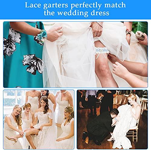 DURANTEY 1 PCS Liga de Novia para Boda Liguero de Novia Azul Liga Nupcial para Boda Liga de Matrimonio Elegante Liga de Encaje Azul y Blanco Accesorio Tradicional para Vestidos de Boda (33-66 CM)