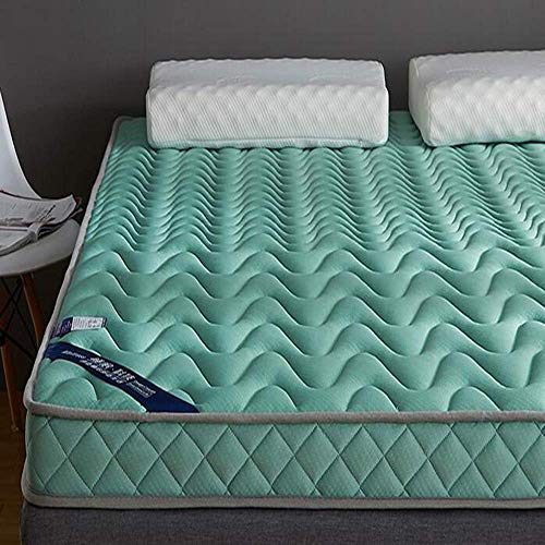 ZGYQGOO Memory Foam Matratze Topper, Tatami Pillowtop 10cm Latex Hohe Elastizität Atmungsaktiver Schlafsaal Student Hotel Schlafmatratze Schlafmatte Isomatte-grün 180x200cm (71x79inch)
