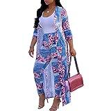 Mujer Moda Estampado Floral Conjunto Casual 2 Piezas Abrigo Largo y Pantalones Largos Traje Estampado Pluma Leopardo Chaquetas Cardigan y Cintura Alta Slim Leggings Dos Piezas